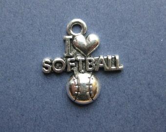 5 I Love Softball Charms - I Love Softball Pendants - Sports Charm - Softball Charm - Antique Silver - 19.5mm x 20.5mm  -- (No.59-10199)