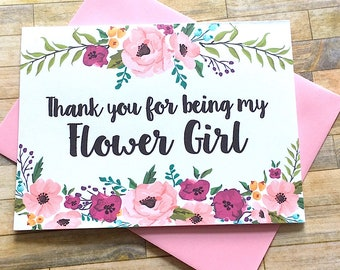 Thank You for Being my Flower Girl Card Flower Girl Thanks - Wedding Thank You Card - For My Bridal Party  - Wedding Day Card - MULBERRY