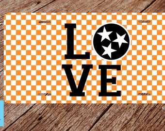 Tennessee  License Plate. Tennessee Orange License Plate. Knoxvill Tn License Plate. Tri Star Flag License Plate.