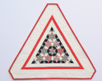 Triangle Wall Hanging, Modern Wall Decor, Quilted Wall Hanging, Quilted Table Topper, Table Decor