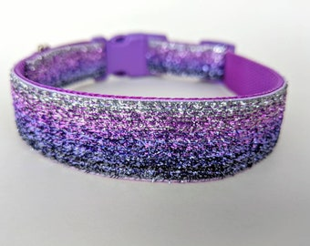 Purple Ombre Sparkle Dog Collar / Purple Silver Ombre Dog Collar