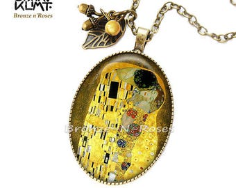 """Necklace """"The Kiss"""" painting Gustav Klimt art accessory glass cabochon"""