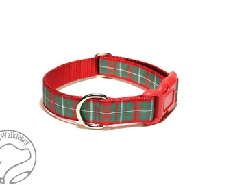 """MacGregor Clan Tartan - 1"""" (25mm) Wide - Plaid Dog Collar - Red and Green - Martingale or Side Release - Choice of collar style and size"""