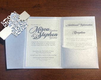 Ivory and Silver ornate belly band Invitations Invitation