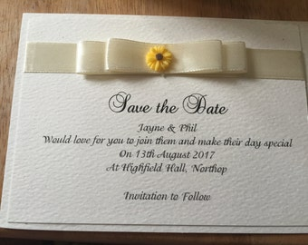 Pack of 10 Personalised Save The Date Wedding Cards - Sunflower/Daisy Design with Double Satin Bow