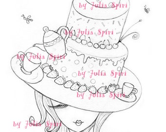 Digital Stamp, Digi, Coloring, Hat stamps, Cake stamp, Tea stamps, Girl stamp, Strawberry, Fantasy. The Hat Collection. The Cake Hat