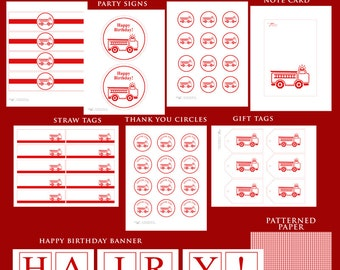 RED FIRETRUCK Printable Birthday Party Decor Package - no customization included