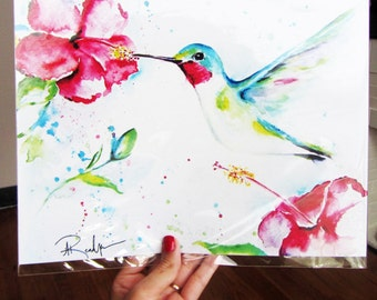 Bird Art, Hummingbird Painting, Hummingbird Art, Hummingbird Watercolor, Hummingbird Print, Bird Art Print, Bird Lover Gift, Bird Prints