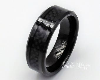 Two tone Tungsten Wedding Band Black Carbon Fiber Ring Mens