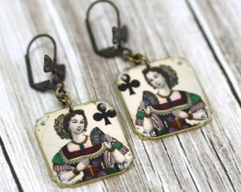 Queen of Clubs Earrings Queen of Clubs Queen Earrings Playing Card Earrings Vegas Jewelry Queen Jewelry Shrink Plastic Vintage Print