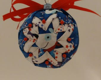 Red, White & Blue folded fabric handmade ornament with fabric dog and dog house decoration