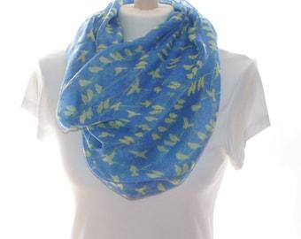 Bird print infinity Scarf shawl, Beach Wrap, Cowl Scarf, bird print scarf, cotton scarf, gifts for her