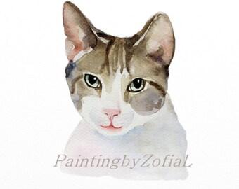 CUSTOM PET  PORTRAIT watercolor, custom pet,cat,dog portrait, portrait commission, portrait from photo,gift for cat lovers, Christmas gifts