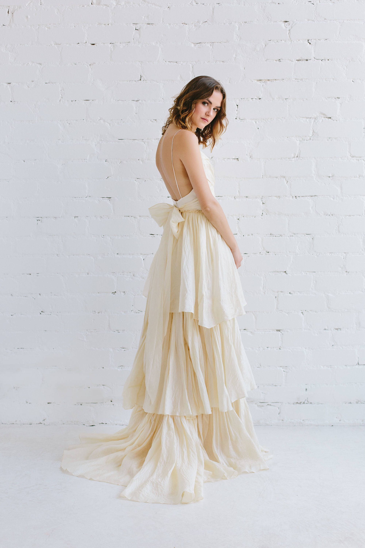 Böhmische Hochzeit Kleid Seide Brautkleid Elfenbein