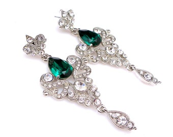wedding statement earrings bridesmaid gift prom swarovski emerald green teardrop rhinestone filigree cz deco faux marcasite post earrings