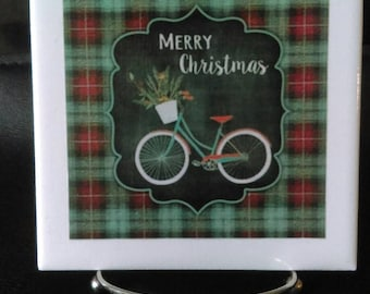 Vintage Looking Bicycle Merry Christmas 6X6 Decorative Tile with Easel, Housewarming, Teacher Gift, Christmas Decor, Christmas Gift, Plaid