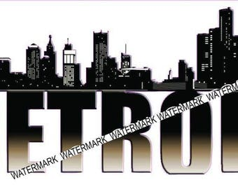 Detroit Skyline  Sticker/Decal
