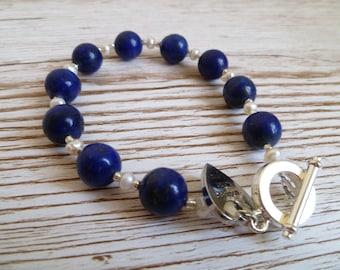 Lapis Lazuli and fresh water pearl Bracelet UK