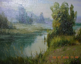 """Original oil painting """"Rivulet"""", canvas, in frame"""