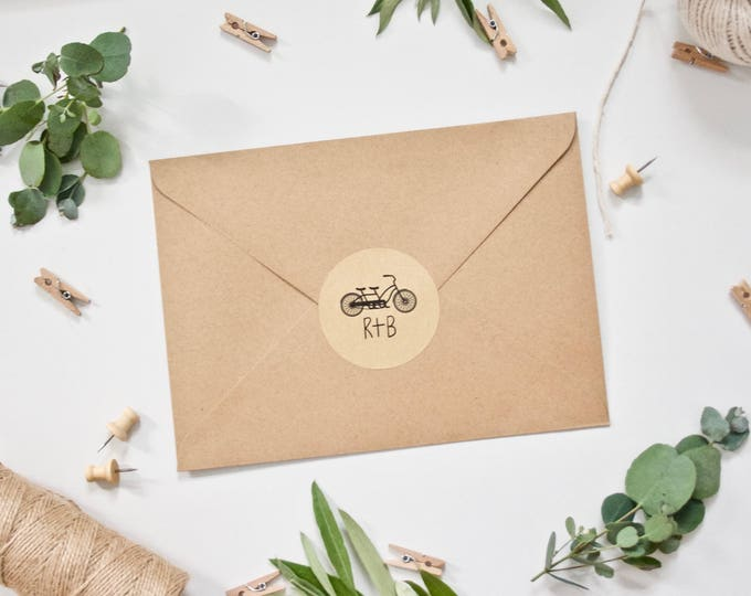 CUSTOM Wedding Stickers - Tandem Bicycle Bike with Initials - Rustic Kraft Envelope Seals Envelope Stickers Favour Stickers Favor Labels