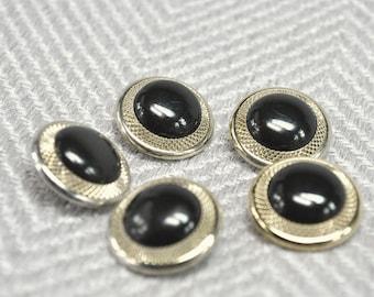 Black & Gold Buttons, Large Buttons, Vintage Buttons, Art Deco Buttons, Round Buttons, Sew on Buttons, Shank Buttons