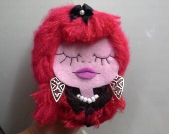 Felt Brooch Portrait Art Doll Red Warrior