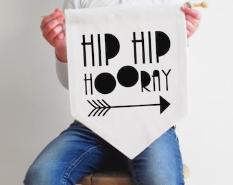 Pennant Banner - Hip Hip Hooray - Fabric Pennant Banner - Black or Gold