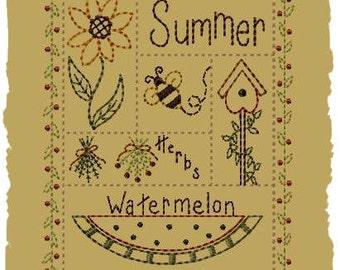 Summer Sampler-Version 2--5x7--Primitive Embroidery Design--INSTANT DOWNLOAD