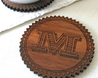 Monogram wooden Coasters - Letter Coasters - Two personalised walnut coasters - wedding gift - 5 year anniversary gift - gift for couples