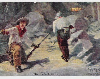Artist-Signed Cattle Thieves Postcard, 1907