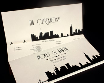 New York Trifold Ceremony Program Wedding Custom Personalized NYC City Skyline Other Cities Available