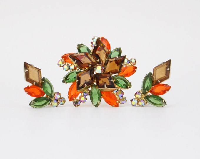 Juliana Brooch and Earrings Set - Orange Topaz and Brown Demi Parure - Vintage 50s Rhinestone Clip On Earrings and Brooch