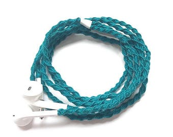 No tangle handmade macrame wrapped Earphones/EarPods with mic in Cyan color