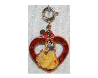 Disney Snow White Rhinestone Heart Charm Bracelet Charms Necklace Earring Charm DIY Jewelry or Craft Supplies