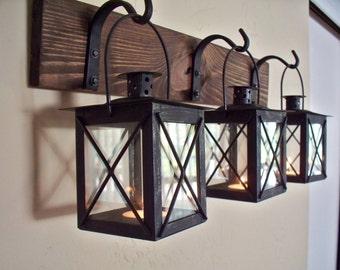 Sale Black lantern trio wall decor. Wall sconces, housewarming gift, bathroom decor, wrought iron hook, rustic wood boards