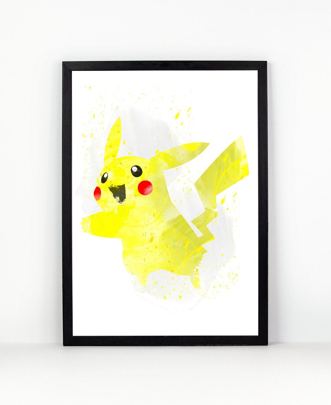 Pikachu Pokemon fan Art Watercolor alternative poster