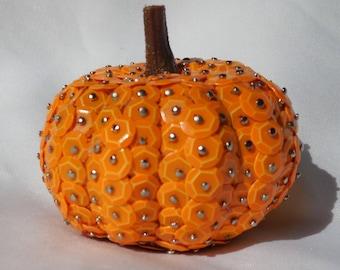 Fall Sequin Orange Pumpkin Decor |  Halloween Decoration | Thanksgiving Decor | Thanksgiving Table Decor | Pumpkin Decor