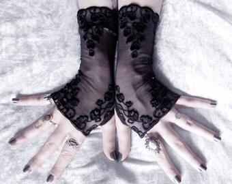 Adria Long Lace Fingerless Gloves - Black Embroidered Floral - Gothic Vampire Wedding Fetish Dark Tribal Bellydance Burlesque Goth Bridal