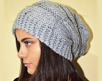 Slouchy cable style beanie hat - PEARL Gray (Or Choose Color) - womens chunky - accessories - baggy slouch