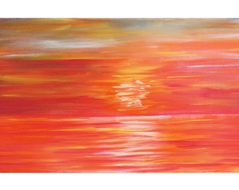 Large acrylic painting, Modern Art, Orange Sunset painting, large Canvas Art, wall art, Sunset painting, abstract art