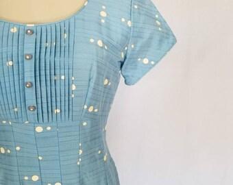 1950s Dress // 50s Dress // 1950s Baby Blue Polka Dot Dress //  Vintage Polka Dot Dress // Vintage 50s Summer Dress // Modern Size 6