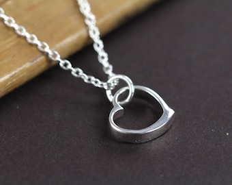Dainty Heart Necklace , Valentine's Jewelry Gift , Heart Charm Necklace 925 Sterling Silver
