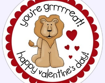 Lion Valentine's Day Labels, Stickers - 2.5 inch round, Stickers