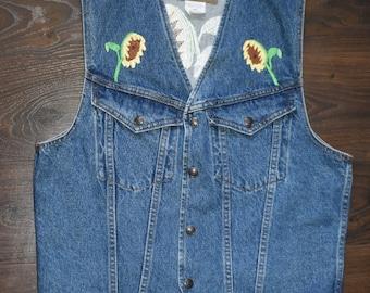 vintage sunflower embroidery jean vest