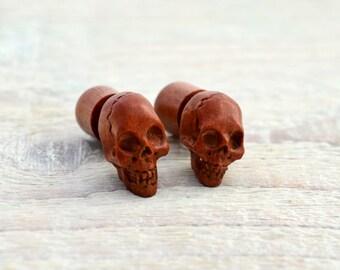 Handmade Skull Wood Fake Plugs Earrings Red Brown Tribal Fake Gauge Earrings - Gauges Plugs Bone Horn - FP003 RW G1