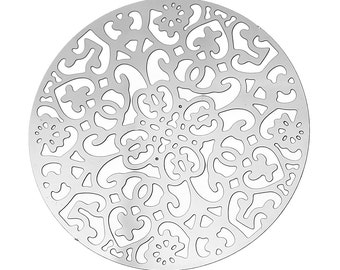 Filigree round lace pendant stainless steel hypoallergenic charms 2pcs