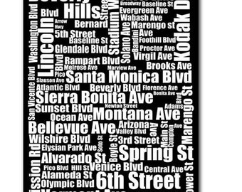 Typography of  Los Angeles Street Names in Black and White A4 Size  fine art print black and white city street names LA