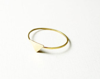 Tiny Triangle Ring - Brass Triangle Stacking Ring - Minimalist Geometric Stacking Ring