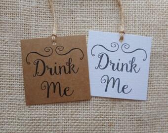 """drink me tags, printable wedding favor tags, drink me printable tags, digital favor tags, digital drink me tags, you print, 2"""" x 2"""""""