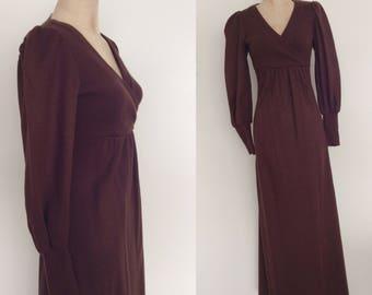 1970's Brown Wool Maxi Dress w/ Bishop Sleeves Size XS SmallMediumby MaeberryVintage
